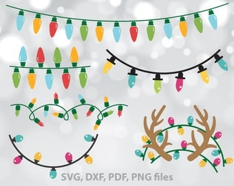 Christmas Lights svg, Antlers, Monogram, Christmas SVG files, dxf, png, - Cricut, Silhouette, Holiday light string