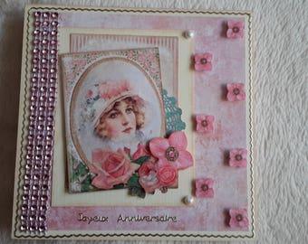 Charming vintage shabby style birthday card