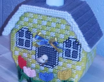 Soap Dispenser - Yellow Bird House w Tulips/Yellow & Blue Bow (Soap Included)