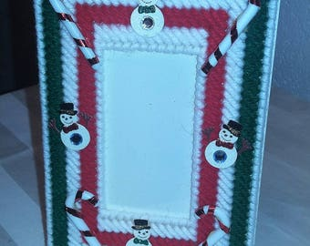Handcrafted Picture Frame - Snowman Candy Cane Green/Red/White Striped