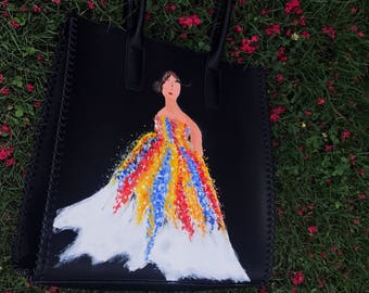 Hand painted fashion tote bag