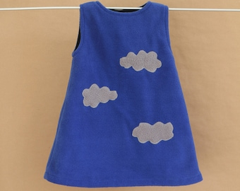 Clouds - Navy dress girl 2 years, in blue fleece, lined