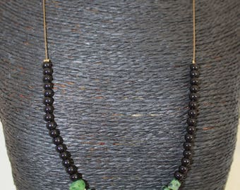 Spray + chrysoprase gemstone necklace on twisted wire