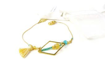 Simple minimalist geometric light yellow and blue bracelet