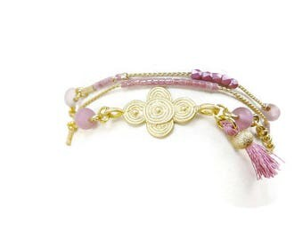 Bracelet multi-turn gold plated and old pink boho chic