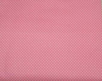 Makower - polka dots fabric (1 mm) white on pink background