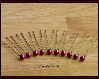 10 Maroon silver Bridal jewelry Pearl wedding hair pins
