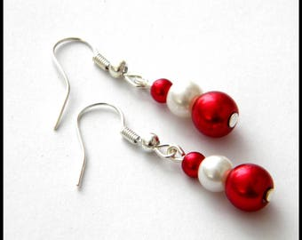 Red white bridal wedding Pearl Earrings Pearl