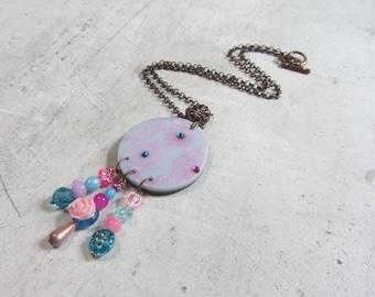 Pattern pastel blue and fuschia swarovski jewel polymer clay necklace made mainpar littlelyna