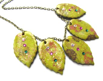 Leaf necklace, lime and pattern by Little Valentine