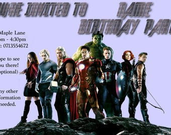 Personalised Avengers Birthday Invite
