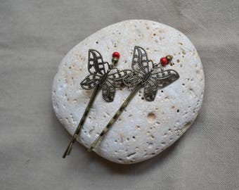 Bronze Butterfly - set of 2 Bobby pins