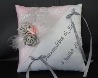 Ivory and pale pink wedding ring cushion