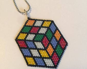 Novelty necklace Rubik Pearl miyuki, adjustable new