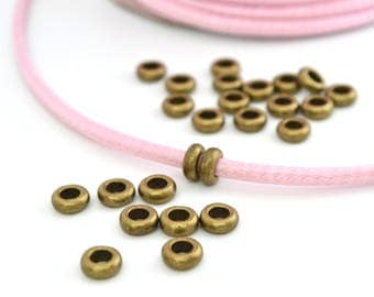 10 washers beads bronze with large holes in metal 7x3mm