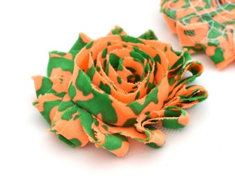 Camouflage green, and orange 6cm sew fabric flower