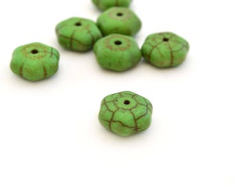 1 Hexagon flat 12mm Green howlite synthetic Pearl