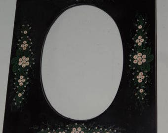 Pretty Flowers Hand Painted Black Laquer Photograph Frame
