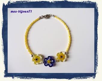 Bracelet millefiori, pearl bracelet, glass beads - flower bracelet - yellow and dark blue
