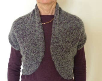 Vest-cape Heather grey/purple alpaca and hand knit mohair