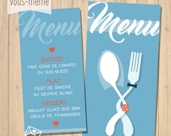 Menu flatware, wedding, customizable {to print yourself}