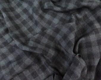 Italian Black/Charcoal Check Wool Fabric