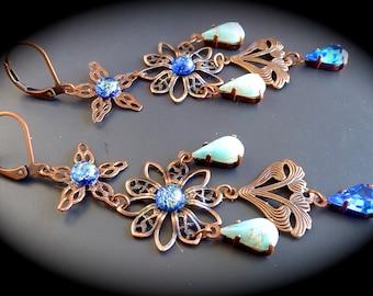 """Fine """"opals... powder"""" Retro-Bohemian earrings"""