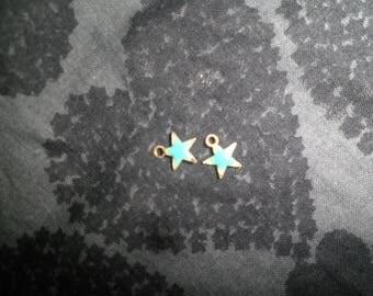 Set of 2 sequin shapes stars gold base color green