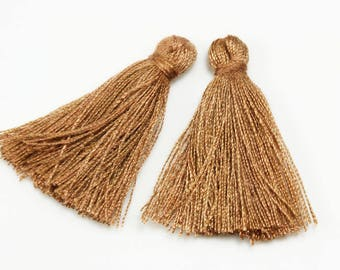 2 X tassel 30mm without ring Brown