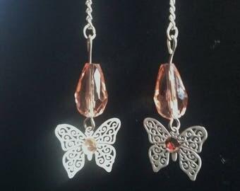 Earrings dangling white butterflies