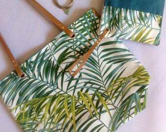 Sac cabas et sa pochette assortie en toile de coton imprimé tropical