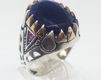handmade 925 sterling silver men ring blue sapphire ruby stone arabic jewelry