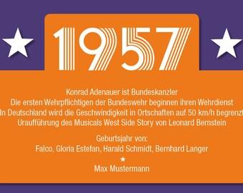 Einladung zum 60. Geburtstag: 1957 Ereignisse