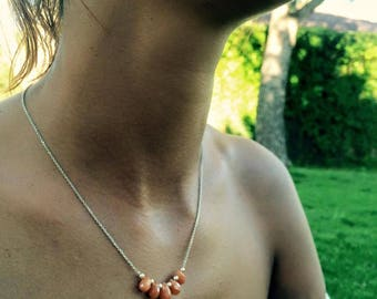 Necklace chain Silver 925 sheet red aventurine