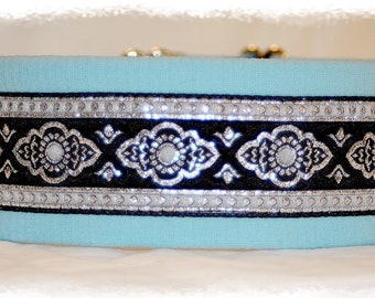 "Dog Collar ""Ocean"" Jacquard Ribbon Elegant Design for Pet accessories fashion"