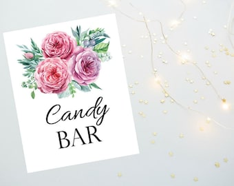 Candy Bar Sign 8x10 and 5x7 size Printable PDF, Floral Watercolor Sign, Bridal Shower Sign, Wedding Reception Sign - Printable  PDF