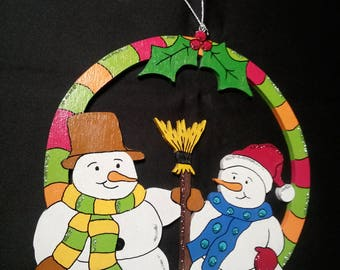 Windows snow snowman Christmas decoration.