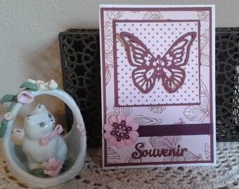 Burgundy Butterfly condolence keepsake card