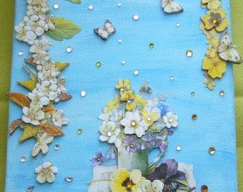 Handmade 3 D on Hawthorn flowers and rhinestones blue canvas painting