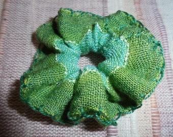 Size small fabric green hair tie, sewn handmade