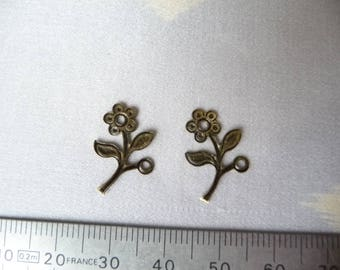 Set of 2 small flowers 13 x 12 mm