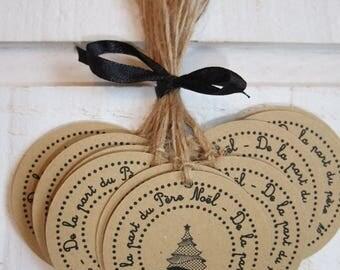 Set of 15 kraft text Santa Claus gift tags