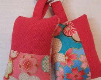 Set of 2 fabric Keychain (No. 166) fuschia flowers and Japanese