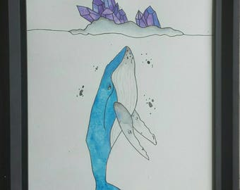 watercolour Whale painting