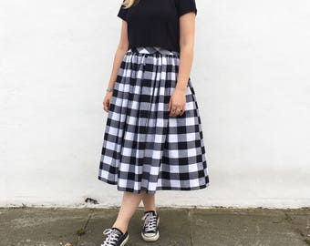 Black and white check skirt, 100% cotton, full gathered midi skirt, classic casual style skirt.