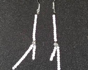 33. Lilac Bead Dangling Earrings