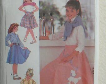 Girls Skirt Pattern - Vintage Simplicity 7878 - Sizes 10-12-14