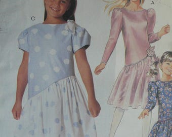 Girls Dress Pattern - Vintage McCalls 2882 - Size 10-14