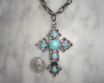 Vintage Western Style Silver Tone Large Filigree Cross Necklace with Faux Turquoise SHIPS FREE