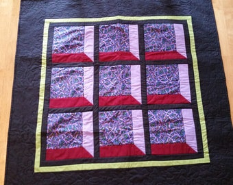Attic window quilted wall hanging